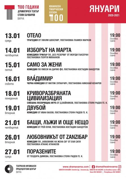 """Програма м. януари, Драматичен театър """"Стоян Бъчваров"""""""